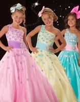 одно плечо Нарядные платья элегантные & роскошный цветок девочки платья