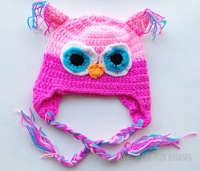 Шапка для мальчиков NEW Owl shaped Lovely Boy girl Hats winter baby hats Knitted caps children warm hats Ear protector Handmade A06M06