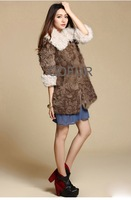 Женская одежда из меха Ladies' Genuine Lamb Fur Coat Winter Garment Overcoat/retail/OEM QD22108 A G