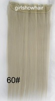 One set hairpieces,Slice hairpiece,5 clips wig,5 clips long staight hairpiece , 1 pcs,Color 2#,125grams,60cm,