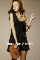 Женское платье Sexy Single Shoulder High Waist Dress Black ZX12091412