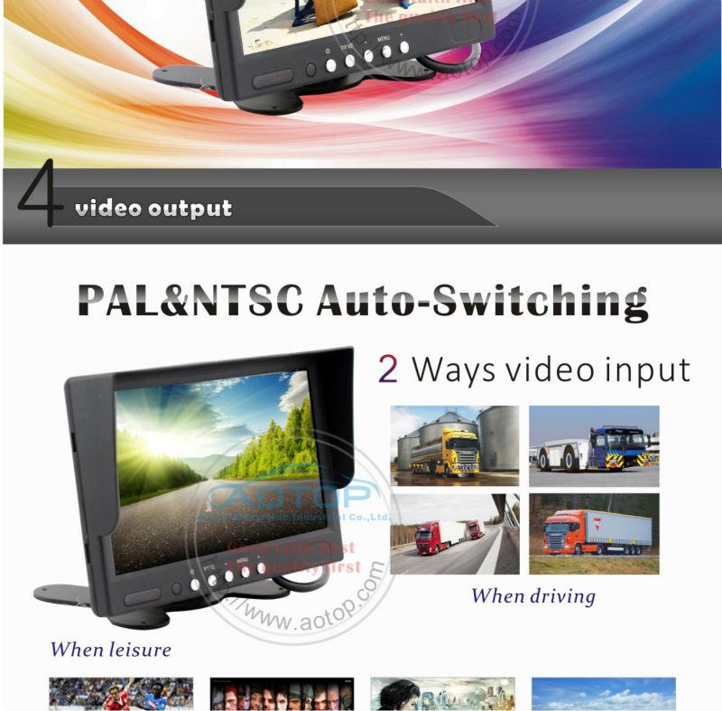 7インチ液晶リアビューモニターをスタンドtft液晶カラーテレビ画面4ピンコネクタ、 2av入力、 すべての自動車用モニタースタンド仕入れ・メーカー・工場