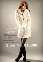 Fashion Long Sleeve Hooded Sweater With Cap Women Ladies Cardigan Black White Gray #1005