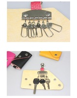 Детали и Аксессуары для сумок 1PCS Simple Portable PU Leather Snap Key Bag Keychain Holder Case Ring wallet purse