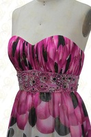 Free Shipping printing Printing Fabirc Beading and Pleat 100% Handwork Strapless Prom Dresses OL102025