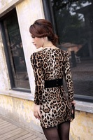 Wholesale + Free Shipping  8638# 2012 Korean version of leopard autumn long slim bottoming dress bag hip sexy