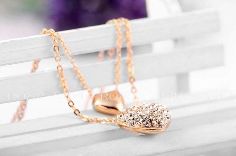 Рокси Австрия кристалл с swa элементы сердца и стрелы полной cz алмаз двойной сердца кулон ожерелье для женщин