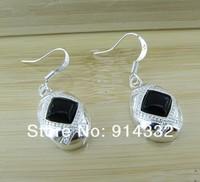 Beautiful impressive black stone 925 silver plated earrings free shipping jewelry for women YE011