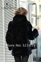 Женская одежда из меха Ladies' Winter Coat real fur jacket with mink fur collar Genuine Rabbit Fur Hoodie #BM-7