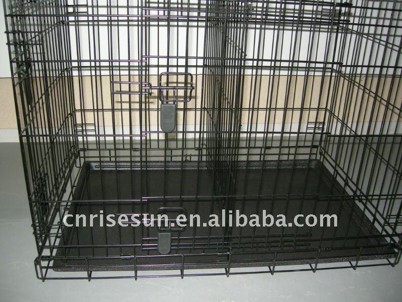 Foldable Heavy Duty 2 Door Dog Crate - Black(100% commercial grade popular in USA and EU Double Door )