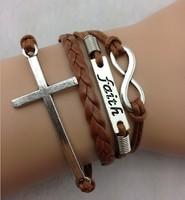 Ювелирное украшение с крестом 3pcs Infinity, Faith & Cross Charm Bracelet-Antique Silver Bracelet-Wax Cords and Imitation Leather Bracelet, Friendship b106
