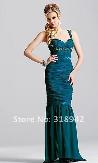 Free Shippinng/2012 Elegant and Sheath and Pleat and Chiffon  Evening  Dresses