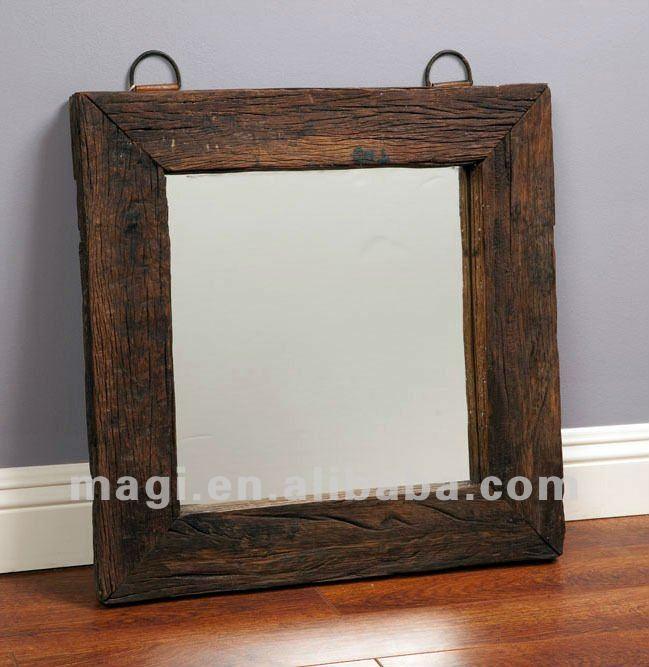 Cuadrado antiguo de pared de madera maciza espejo para la for Espejos decorativos marco de madera