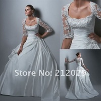 Noble new white satin&lace half sleeve Wedding Dress gown Sz custom empire line