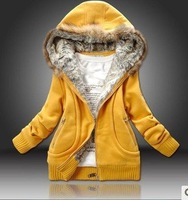 Free Shipping CO-151 Women's Cotton-Padded Jacket Fashion Faux Fur Hooded Zip Up Cardigan Thicken Coat Casual Wear