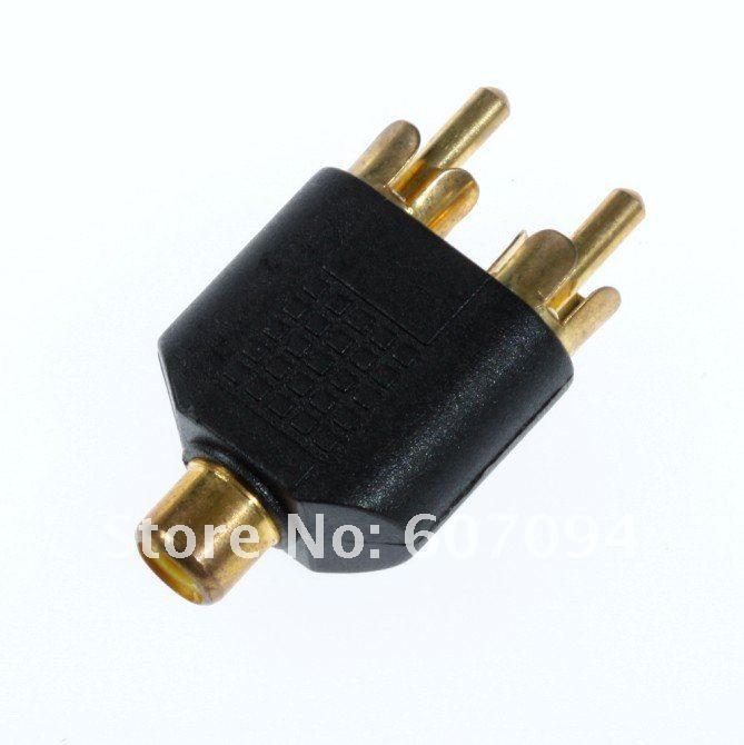 rca av audio y conector adaptador divisor 1 2 hembra a macho