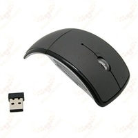 Компьютерная мышка Mini USB 2.4Ghz Snap-in Transceiver Optical Foldable Arc Wireless Mouse for PC Laptop Computer 500Pcs/Lot DHL