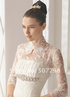 freeshipping top qulaity lace bridal bolero,summer wedding jacket,bridal coat in white,cheap 2012 styles