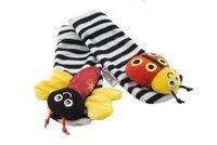 прекрасные детские погремушки Игрушки lamaze сад ошибка запястье шумовой + ноги носки 4 шт набор