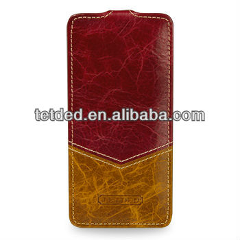 OEM Premium Leather Case for HTC One Mini 601e -- Troyes (Venus: Burgundy Red/Toffee Yellow)