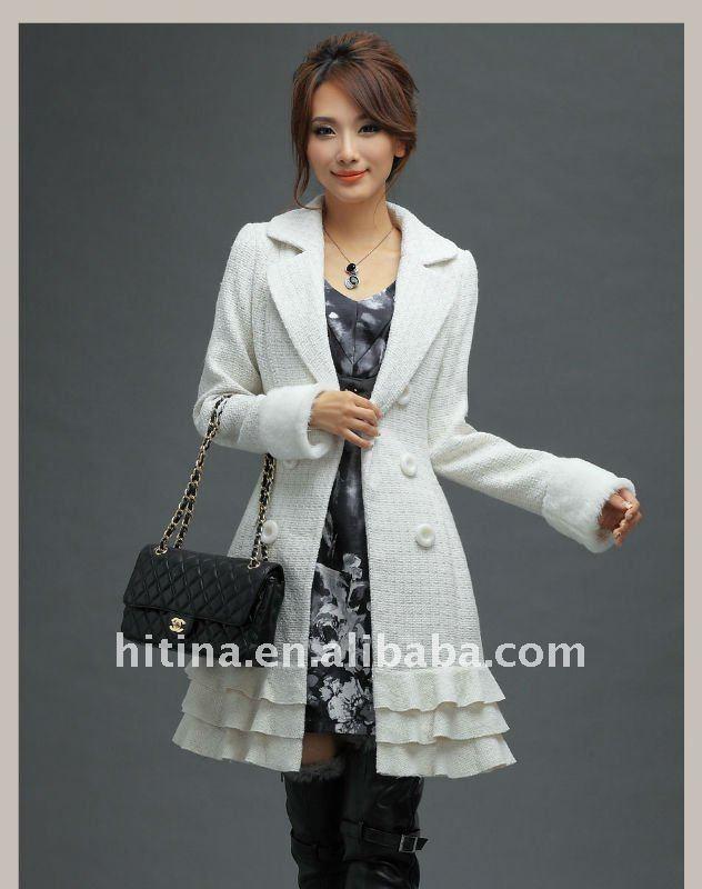 blanco de invierno de lana pura abrigos largos para las mujeres