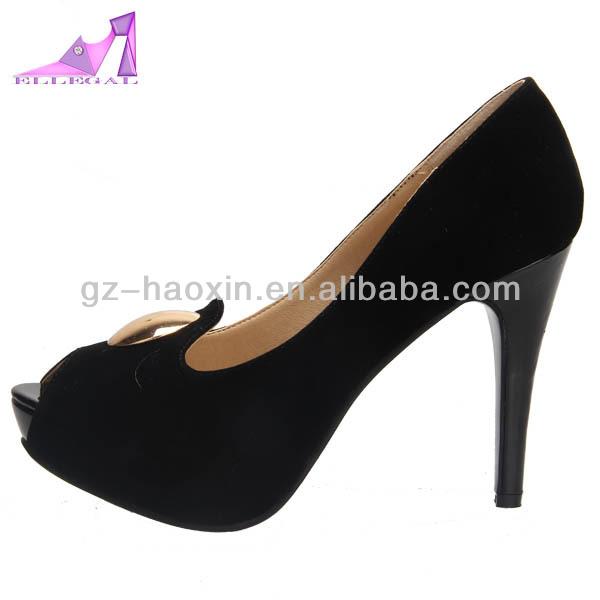 Women black open toe platform high heel shoes