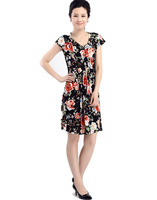 Женское платье 15 colors-milk silk Elegant ladies' dresses sexy V-neck short sleeve knee-length L~XXXXL large size dress