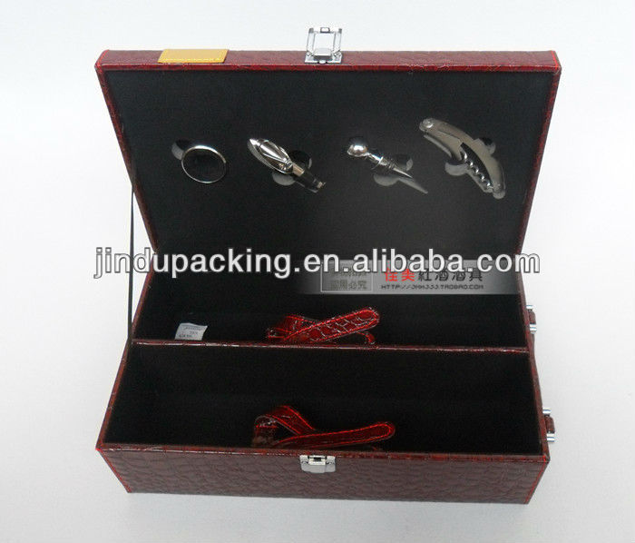 high quality luxury leather wine gift carrier box, wooden wine carrier case
