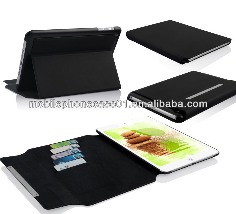 factory leather tablet sleeve for ipad mini with 5 card slots