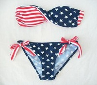 Free shipping 2012 Hot Sexy STARS And STRIPES USA Flag Bikini PADDED TWISTED BANDEAU Tube BIKINI AMERICAN Swimwear