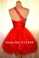Actual Image Organza One Shoulder Beads Straps Red Lovely Short Prom Cocktail Dresses Homecoming Dresses
