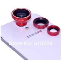 Объектив для мобильных телефонов 1pcs 3 in 1 lens universal clip Fisheye Macro Wide angle Lens for mobile phone Cell Phone