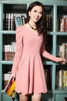 Женское платье 2012 new long sleeve spring autumn dress ladies' korean sweet knit dresses large size candy color