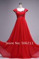Вечернее платье 2013 Red Cap Sleeves Chiffon Long Evening Formal Dresses/ Woman Prom Dresses