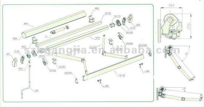 Autom tico de aluminio retr ctil toldo toldos y for Como colocar un toldo de brazos invisibles