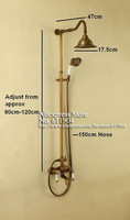 Смесители для ванной и душа Luxury Antique Brass Wall Mounted Rain Shower Head Handheld Shower Faucet Set Ceramic Handle & Hand Shower 1111006