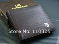 Free shipping+2012 new stylish Men wallet+genuine Leather +Pockets Clutch Cente Bifold Purse ,100% guarantee+wholesale W-B54
