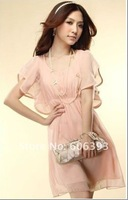 Free shipping 2012 Hot Fashion Women's Lady Short Sleeve Crew Neck Chiffon Dress Roll Wave spins With Belt