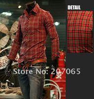 Free shipping 2012 new item Cotton plaid shirt,Long-sleeved shirt, men shirt