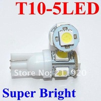 Wholesale 100pcs/lot white 194 168 192 W5W T10 5050 5 smd super bright Auto led car lighting/ba9s T11 wedge auto lamp