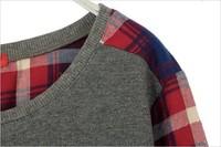 новые новые моды длинные плед дна рубашки женщин женский свитер s-xxl размер свободные блузки
