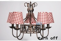 Люстра Rustic style chandelier 8 lights pink white fabric lampshade children 's lamp