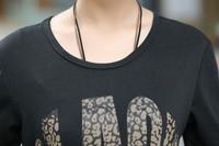 Письмо печатной Женщина Мода хлопок футболки плюс размер l-4xl длинный рукав o шея дизайн леди свободные белые тройники & топы