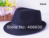 Мужская фетровая шляпа autumn winter gentlemen striped fedora hat, Jazz cap, trilby hat, 10pcs/lot, by China post