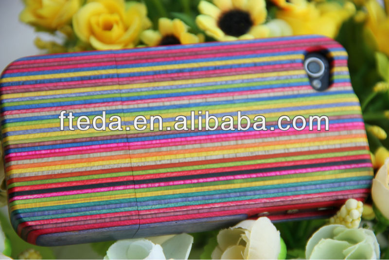 colorful rainbow wood cases for iphone5 5s