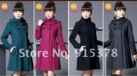 Женская одежда из шерсти 2012 NEW WOMEN HOT SALE WINTER HOODED COAT KOREA FASHION WOOLEN PROMOYION COATS + 2097