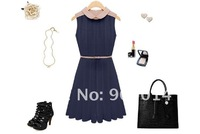 2012 Free shipping Wholesale Summer wear new lady collar dress/ pleated dress/Collect waist dress free belt