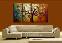 money tree oil painting art home decoration Modern abstract Oil Painting wall art  landscape picture 4pcs/ set B203