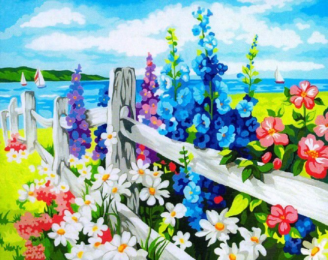 Oil Painting By Number DIY Hand-painted fence and flowers style free shipping with retail box