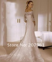Свадебное платье 2012 Ivory Lace Wedding Dress With half Sleeve size 2 4 6 8 10 12 14 16 18 + FF452